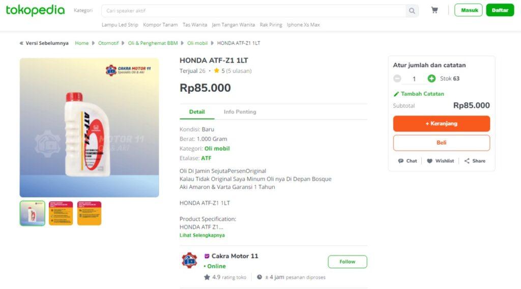 Honda ATF-Z1 Tokopedia