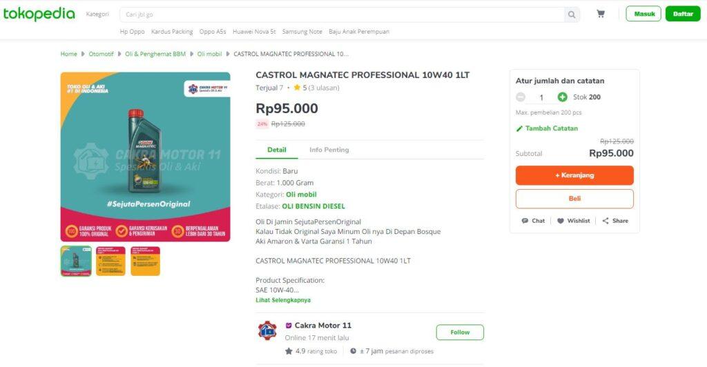Castrol Magnatec Professional 10W40 Tokopedia