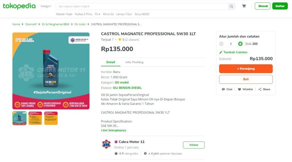 Castrol Magnatec Professional 5W30 Tokopedia