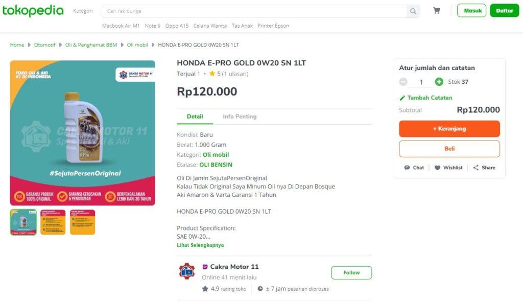 HONDA E-PRO GOLD 0W20 SN Tokopedia