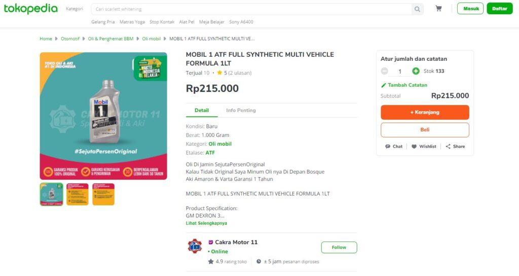 Mobil 1 ATF Full Synthetic Multi Vehicle Formula Tokopedia