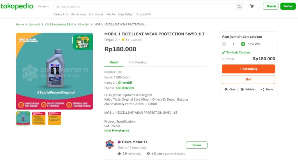 Mobil 1 Excellent Wear Protection 5W50 Tokopedia