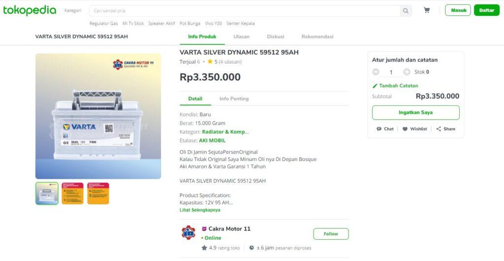 Varta Silver Dynamic 59512 Tokopedia