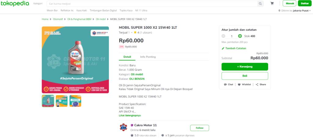 MOBIL SUPER 1000 X2 15W40 1LT